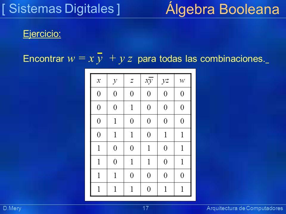 Álgebra Booleana [ Sistemas Digitales ] Ejercicio: